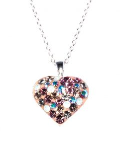 Cherry Amore - Sterling Silver Love Heart Crystal Mix Pendant with sterling silver chain