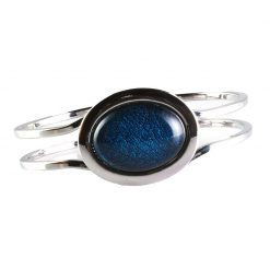 Cherry Amore - Silver Bangle with Metallic Blue oval