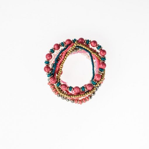 Cherry Amore - Pink beaded layered bracelet