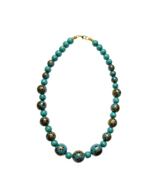 Cherry Amore - Teal Hand Painted Beaded Necklace