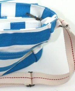 Amore - Blue & White Sripe Cross-over Canvas Bag