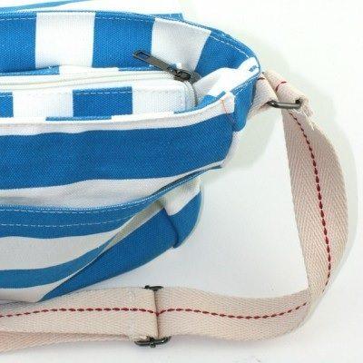 Amore - Blue & White Sripe Cross-over Canvas Bag