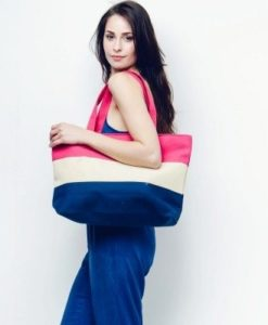 Cherry Amore - Large Blue, Cream, Red Canvas Shopper Bag