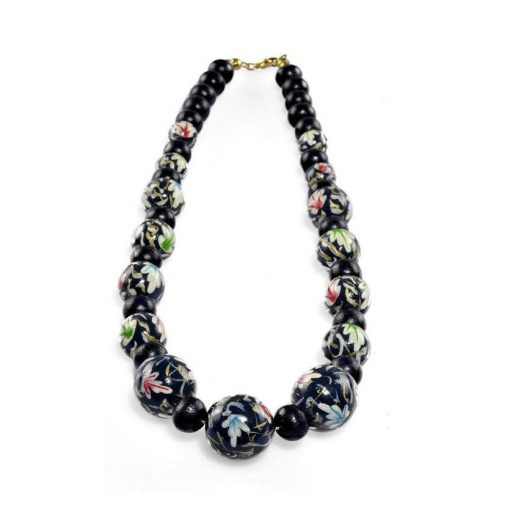 Cherry Amore - Hand Painted Beaded Necklace, Navy/Black