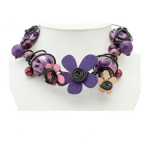 Cherry Amore - Purple Flower & Swirl Choker Collar