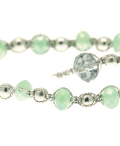 Cherry Amore - Green & Silver Glass Bead Friendship Bracelet
