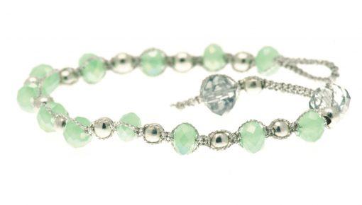 Cherry Amore - Green & Silver Glass Bead Friendship Bracelet