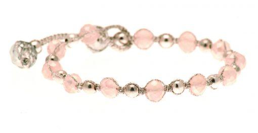 Cherry Amore - Pink & Silver Glass Bead Friendship Bracelet