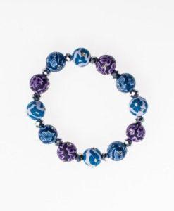 Cherry Amore - Ceramic Beaded Bracelet with Diamantes