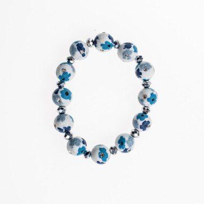 Cherry Amore - White Ceramic Beaded Bracelet with Diamantes