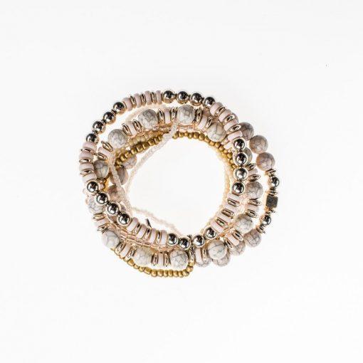 Cherry Amore - Ivory Layered Elasticated Bracelet