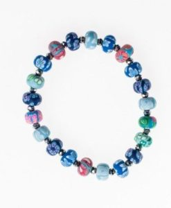 Cherry Amore - Multi-coloured Elasticated Ceramic Bead Bracelet