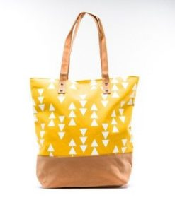 Cherry Amore - Large Yellow Triangle Print canvas & Nubuck Shopper bag