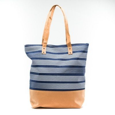 Cherry Amore - Large Blue stripped canvas & Nubuck Shopper bag