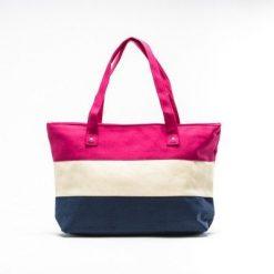 Cherry Amore - Pink, Cream & Blue Stripe Canvas Shopper Bag