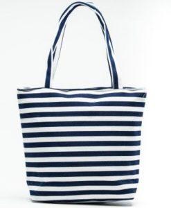 Cherry Amore - Blue & White Striped canvas beach bag