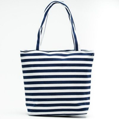 Cherry Amore - Blue & White Striped canvas beach bag
