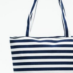Cherry Amore - Blue & White Sripe Canvas Bag