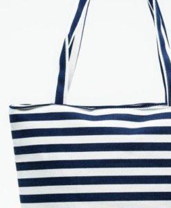 Cherry Amore - Blue & White Sripe Canvas Bag