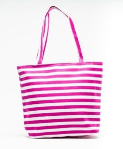 Cherry Amore - Red & White Striped canvas beach bag