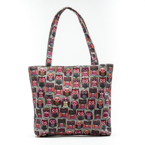 Cherry Amore - Owl Print on Beige Canvas Shopper Bag
