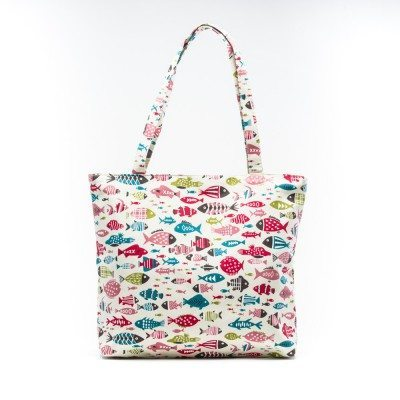 Cherry Amore - Fishes on Cream Canvas Shopper Bag