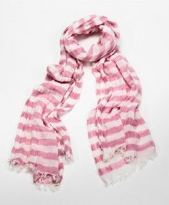 Cherry Amore - Pink & White Striped Crinkled Scarf