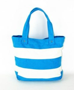 Cherry Amore - Blue & White Stripe Canvas Shopper Bag