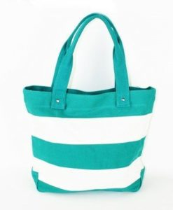 Cherry Amore - Green & White Stripe Canvas Shopper Bag