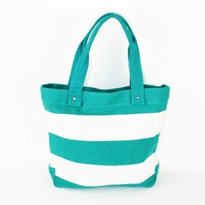 Cherry Amore - Green & White Stripe Canvas Shopper Bag