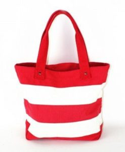 Cherry Amore - Red & White Stripe Canvas Shopper Bag