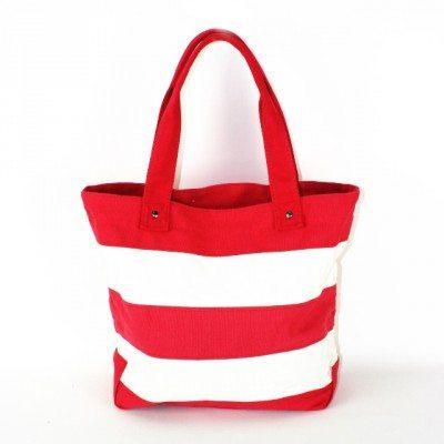 Cherry Amore - Red & White Stripe Canvas Shopper Bag