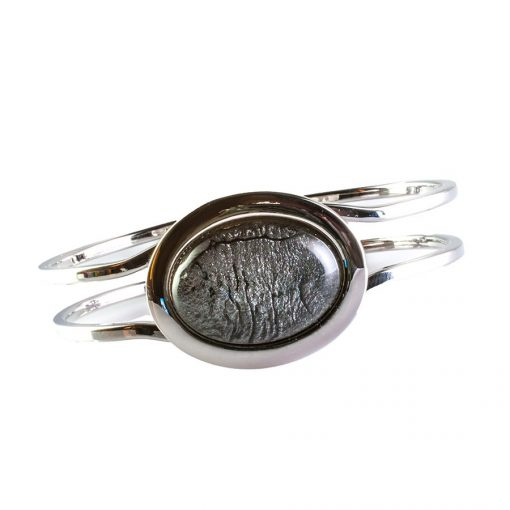 Cherry Amore - Silver Bangle with Metallic Grey oval