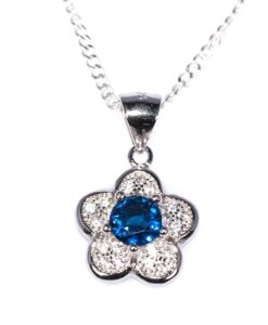Cherry Amore - Sapphire Blue Cubic Zerconia Flower Pendant with Sterling Silver Chain