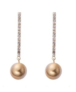 Cherry Amore - Elegant Dangle ball earrings in a brushed gold finish with sparkling diamantes