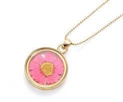 Cherry Amore - Charm Pendant Necklace with Pink Daisy, Gold