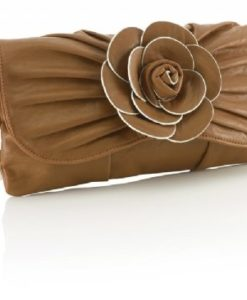 Cherry Amore - Tan Clutch Bag with Large Flower Detail