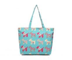 Cherry Amore - Green Scotty dog print canvas shopper bag