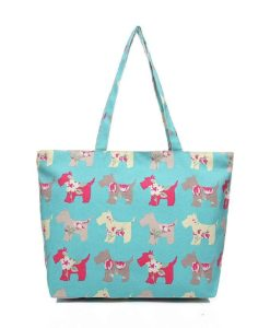 Cherry Amore - Green Scotty dog print canvas shopper bag