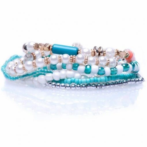 Cherry Amore - Blue Beaded Layered Bracelets