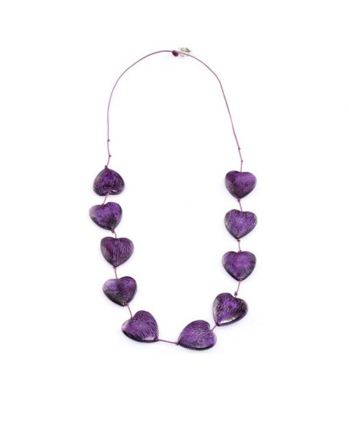 Cherry Amore - Purple Tumbling Love heart Necklace