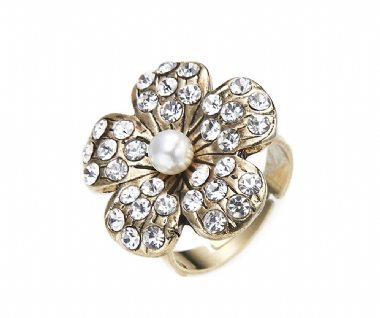 Cherry Amore - Gold Flower Ring with crystal petals