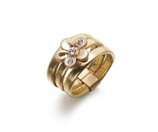 Cherry Amore - Leather & Crystal Stone Flower Gold Ring