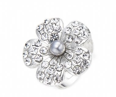 Cherry Amore - Silver Flower Ring with crystal petals